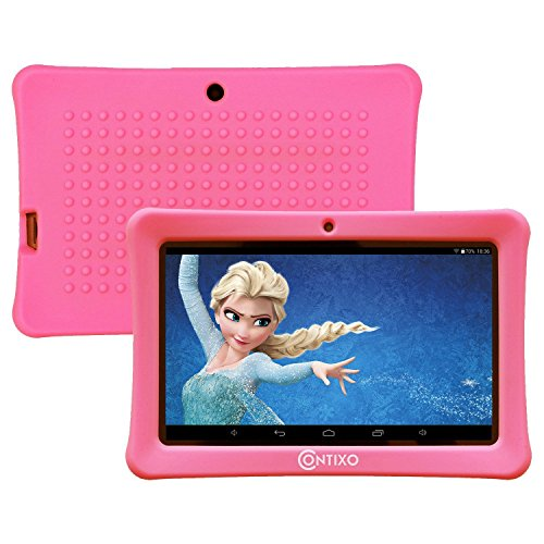 HOLIDAY SPECIAL! Contixo KiDOZ Kid Safe 7'' HD Tablet WiFi 8GB Bluetooth, Free Games, Kids-Place Parental Control W/ Kid-Proof Case (Pink) - Best Gift For Christmas by Contixo