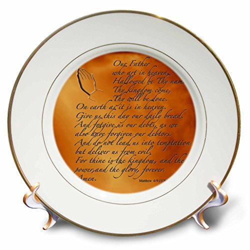 3dRose LLC The Lords Prayer Matthew 6 9 13 Prayer Hands and Verse Embossed on Copper 8-Inch Porcelain (Lords Prayer Decorative Plate)