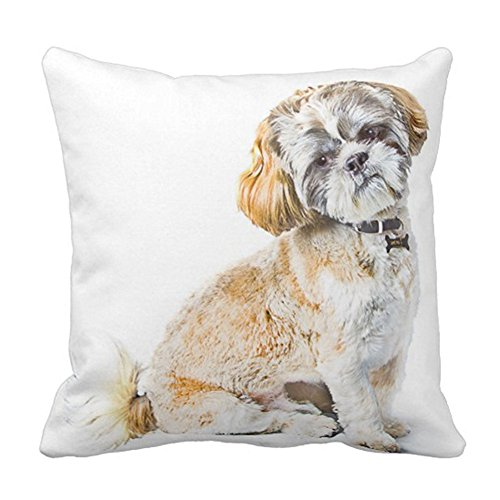 SPXUBZ Shih Tzu Dog Cushion Animal Pillow Cover Decorative Home Decor Nice Gift Square Indoor/Outdoor Pillowcase Size: 18x18 Inch(Two Sides)