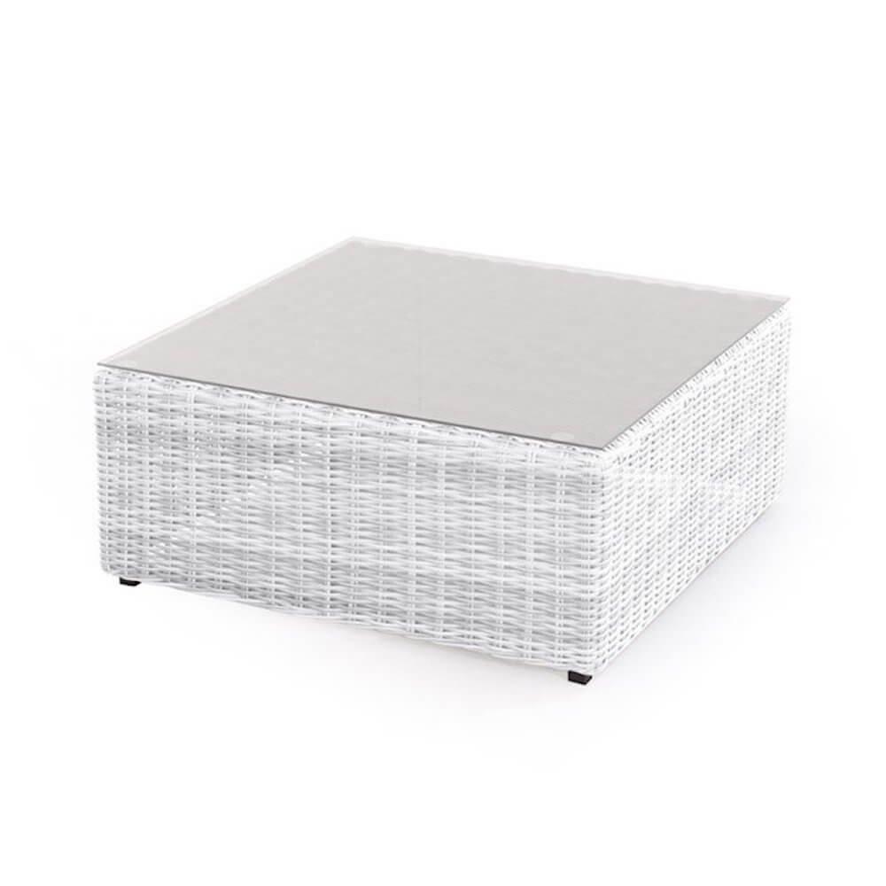 Bertozzi Tavolino da Giardino in Polyrattan Bianco Diletta