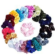 Mandydov 20 Pcs Hair Scrunchies Velvet Elastic Hair Bands Scrunchy Hair Ties Ropes Scrunchie for Women or Girls Hair Accessories, 20 Assorted Colors Scrunchies.