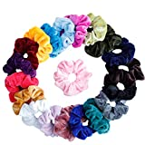 Mandydov 20 Pcs Hair Scrunchies Velvet Elastic Hair Bands Scrunchy Hair Ties Ropes Scrunchie for Women or Girls Hair Accessories, 20 Assorted Colors Scrunchies.