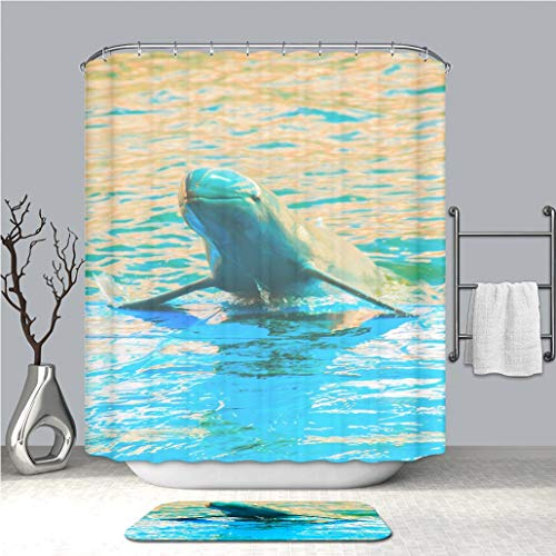 BEICICI Shower Curtain and Bath mat Rug Cute Irrawaddy Dolphin (Orcaella brevirostris) is Floating in The Water and Jumping to Dancing on The Custom Stylish,Waterproof,Bathroom - Dolphins Irrawaddy