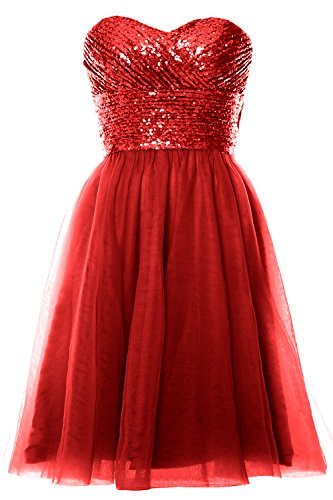 Sequin Rot Party Formal Wedding Gown Dress MACloth Short Cocktail Strapless Women 7wxq4IC