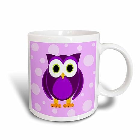 3drose Mug 13757 3 Cute Owl Viola Su Sfondo Viola Chiaro Magic