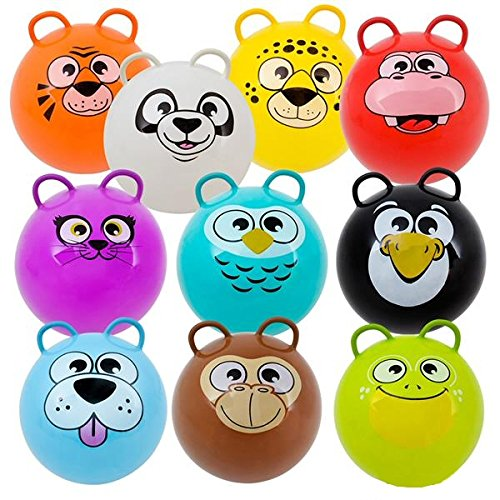Hippity Hop Exercise Hopper Jump Balls with Animal Face and Two Handles for Kids (Purple Cat)