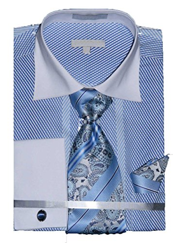 Men's Stripe Pattern Two Tone French Cuff Shirt Tie Hanky Cufflinks Light Blue 18.5 34-35 (Tone Mens Shirts Two French Cuff)