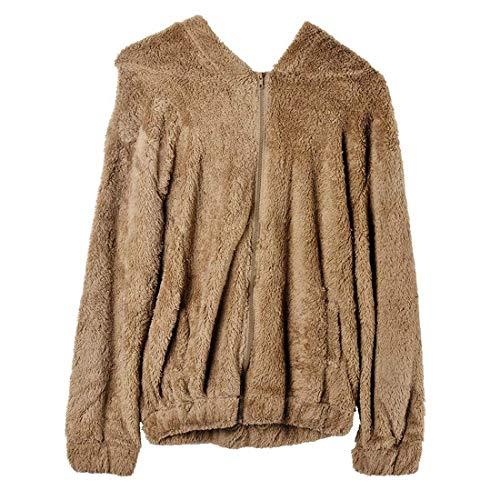 Veste A Capuche Femme Automne Hiver Plush Toison Outwear Elgante Mode Chic Casual Fashion Large Warm Manches Longues Jacken Manteau Vtements D'Extrieur Caf