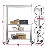 Shelf chrome 4 tier 82 inch x48 inch x18 inch rack steel adjustable wire shelving
