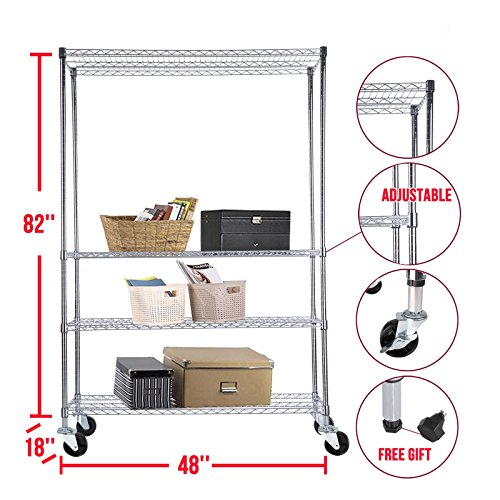 Shelf chrome 4 tier 82 inch x48 inch x18 inch rack steel adj