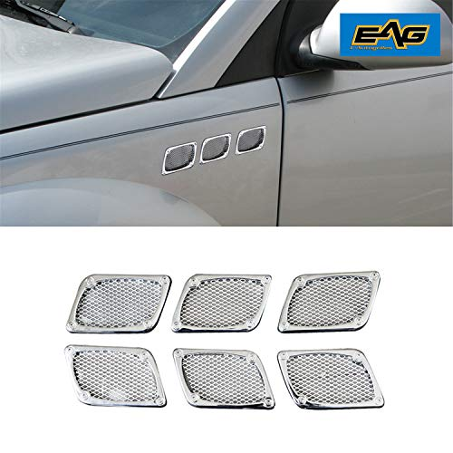 EAG Universal Car Chrome Parallelogram Wire Mesh Style Vent Fender Hole Cover Side Air Flow Intake Grille Duct with Diamonds Decoration 3Pairs (61-0208)