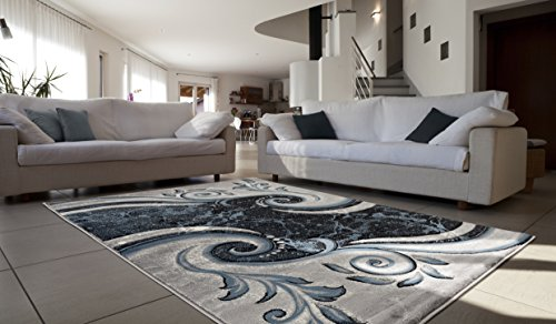 "All New Contemporary Modern Swirl with Floral Carved Area Rug Legacy Collection by Rug Deal Plus (7'11"" x 10'7"", Turquoise/Black)"