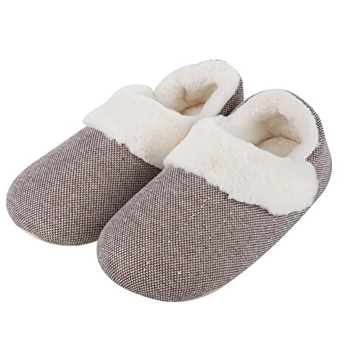 YUTIANHOME Slippers For Mens Knitted Memory Foam Comfort Soft Warm House Indoor Anti-Skid Shoes Coffee GVACieu