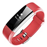 Geelyda Fitness Tracker with Heart Rate Monitor IP67 Waterproof Wristband Smart Wristband with Pedometer Sleep Monitor Step Calorie Counter Bracelet for Kids Women Men (RED)