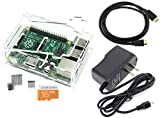 Games&Tech Raspberry Pi 3 Model B Complete Starter Kit with Clear Case, 16GB NOOBS Class 10 Micro SD Card, HDMI Cable, 5V 2A Power Supply, and Heatsinks