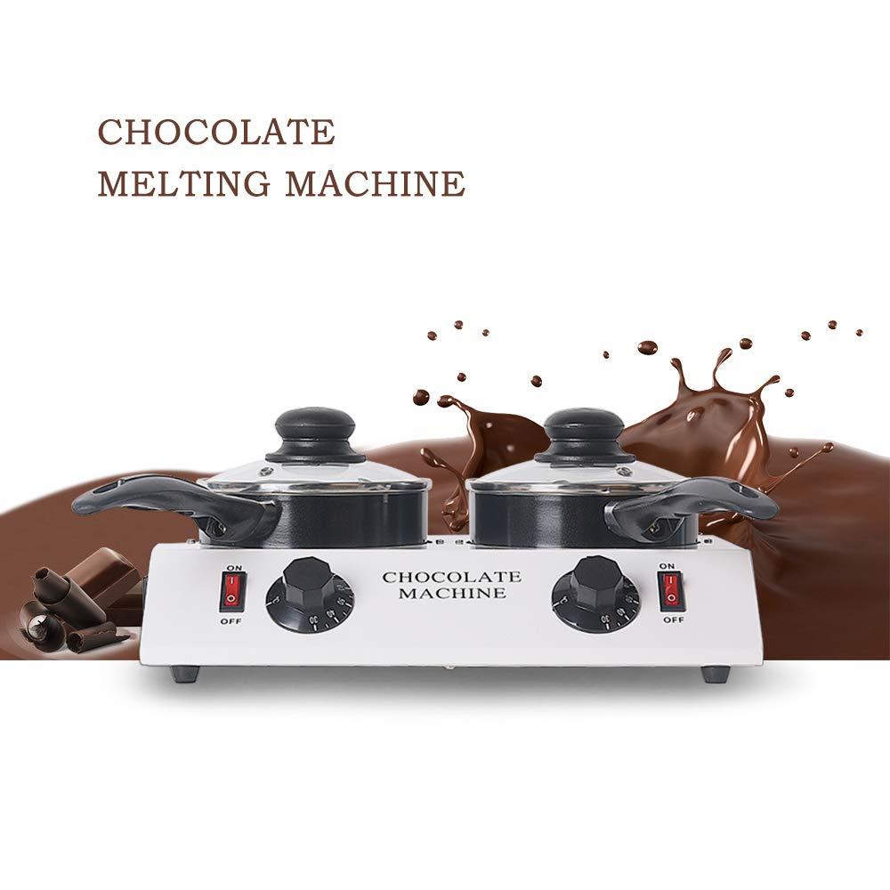 ALDKitchen Mini Electric Chocolate Melting Machine Ceramic Non-Stick Double Pot Tempering Cylinder Melter Pan 110V//60Hz