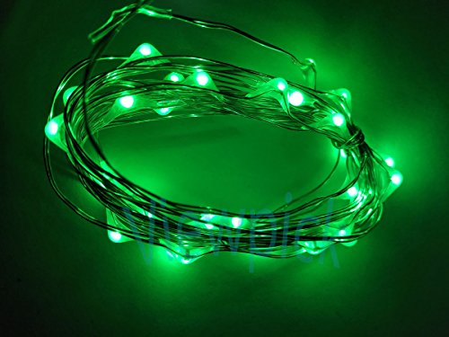 Viewpick 4m 40 LEDs Green Fairy Lights Silver Wire String Lights AA Battery Powered Led String Starry Light for Outdoor Decorative Halloween Christmas Holiday Wedding Parties (Green Halloween String Lights)