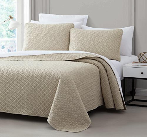 Titan PREWASHED 2 Piece Quilted Quilt, Coverlet & Bed Cover Set, Stitched Pattern, Solid Color, Soft Microfiber Shell 100% Cotton Filling | Tan | Twin/Twin XL Size Bedspread