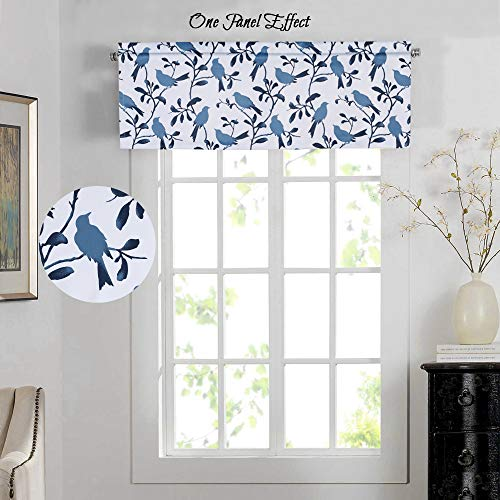 H.VERSAILTEX Energy Saving Curtain Valances Matching with Curtain Panels (Rod Pocket, 52 by 18 Inch, Blue Birds)