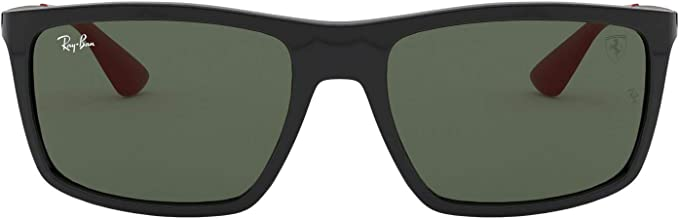 Amazon Com Ray Ban Men S Rb4228m Scuderia Ferrari Collection Rectangular Sunglasses Black Green 58 Mm Shoes