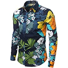 JOGAL Men's Polka Dot Print Casual Button Down Shirt