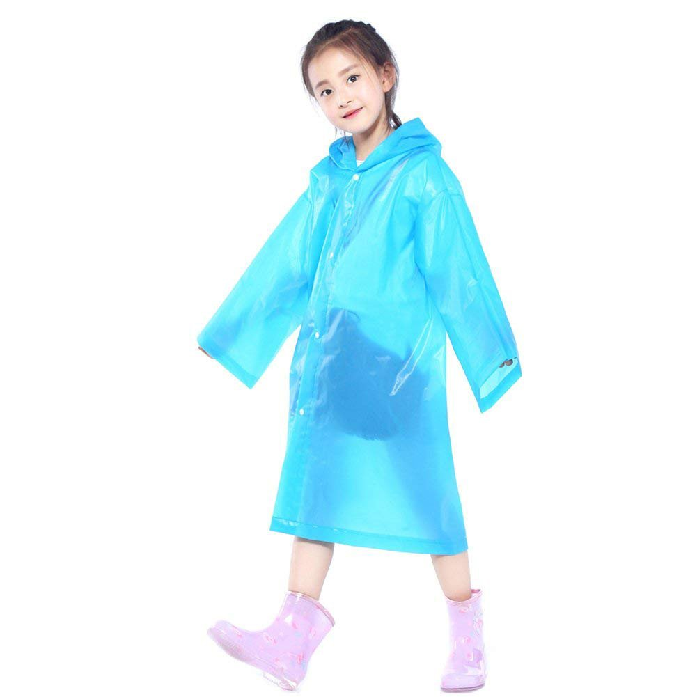 Walsilk 2Pack Emergency Rain Ponchos for Kids, Waterproof Child Raincoats with Hood and Sleeves, Portable & Lightweight
