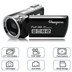"Heegomn Digital Video Camera FHD 1080P Camera Camcorders 2.7"" LCD 12MP Video Recorder with Wide Angle Lens, Black"