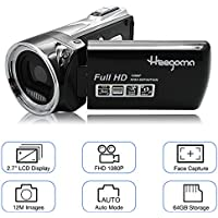 Digital Video Camera Heegomn FHD 1080P Camera Camcorders 2.7 LCD 12MP Video Recorder with Wide Angle Lens, Black
