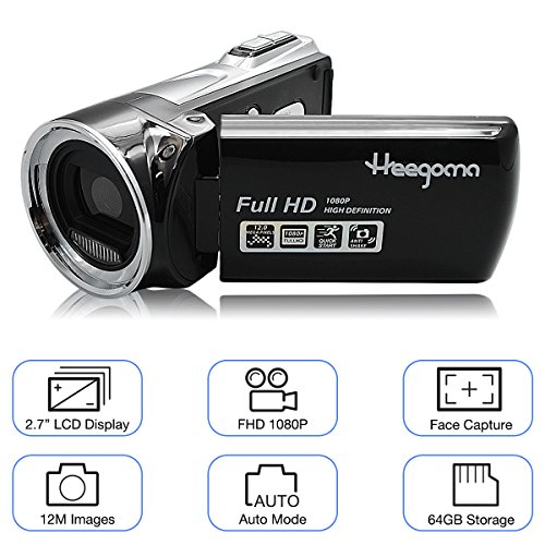 Digital Video Camera Heegomn FHD 1080P Camera Camcorders 2.7″ LCD 12MP Video Recorder with Wide Angle Lens, Black