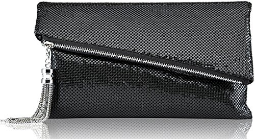 ROVOYCE Envelope Clutch Foldover Bling Metal Mesh Oversized Evening Purse with Metal Tassel (black) ()