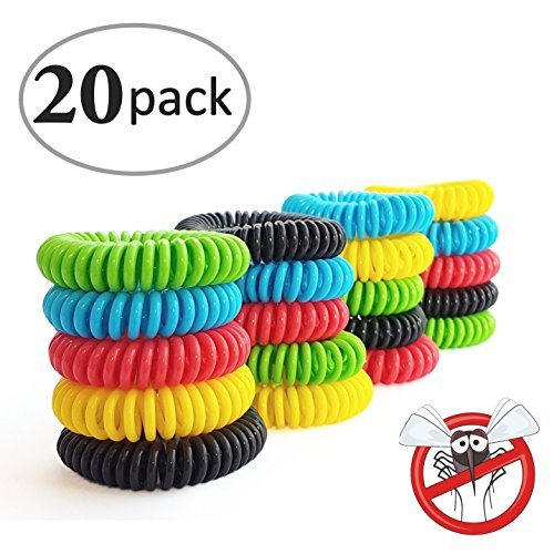 Mosquito Repellent Bracelets 20 Pack DEET FREE Natural Waterproof Wristbands , Pest Bug Control Bands For Kids & Adults Outdoor Camping Fishing Traveling