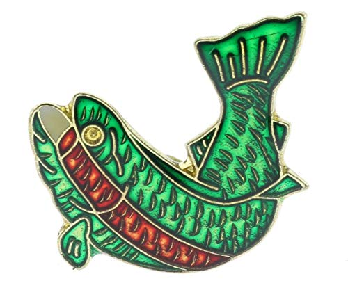 Rainbow Trout Fish Pan Green Red Outdoor Fishing Hat Or Lapel Pin PPM D223 ()