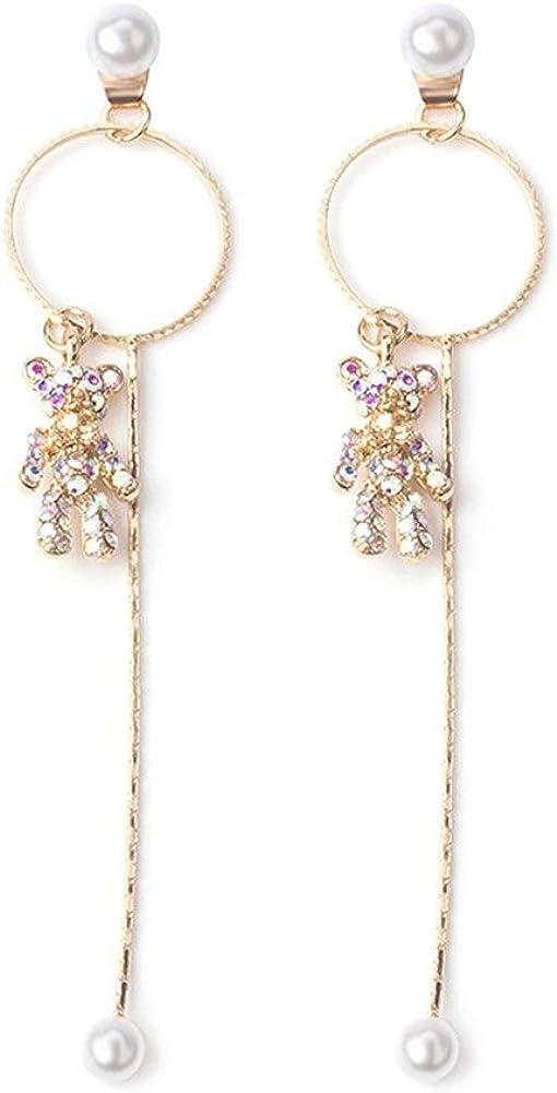 Pendientes Mujer Pendientes Ear Cuff Larga sección lleno de diamantes borla pendientes de perlas Cachorros