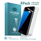 Klearlook Clear Screen Films for 5.5-Inch Galaxy S7 Edge, 3-Full Coverage Full Transparent TPU Screen Protector with High Touch Sensitivity [Not Glass] for Front+1-Carbon Fibre Back Skin for S7 Edge