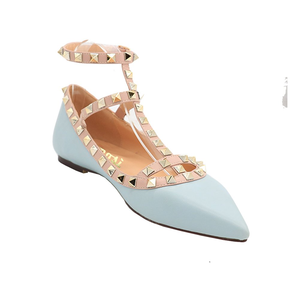 VOCOSI Women's Ankle Strap Studded Pointed Toe Pumps Rivets T-Strap Flat Pumps Dress B07B5VHDG5 10.5 B(M) US Blue(manmade Leather With Gold Rivets)