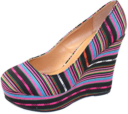 Top Wedges Stripes Fashion Moda Shoes Black Multi River 80 Women's Tribal YxY6vqrP