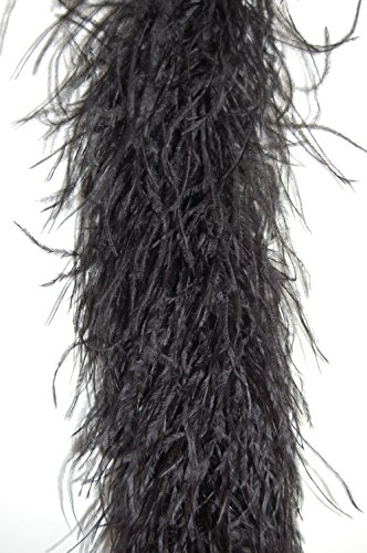 4 Ply Ostrich Feather Boa 2 Yards - MIDNIGHT - Black Feather Ostrich Boa