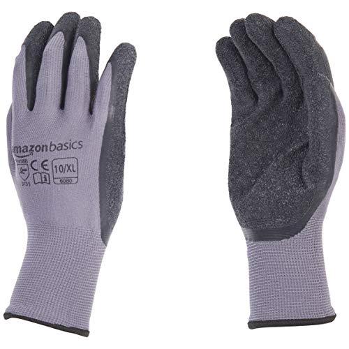 - AmazonBasics Latex Coated Work Gloves, Nylon Liner Fiber, Grey, Size 10, XL, 12-Pair