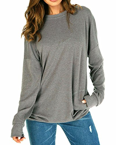 ZJFZML Boutique Clothing For Women, Long Sleeve Scoop Collor Classic Chic Elegent Sweater Baggy Jumper Pullovers Juniors Perfect Swing Stretchy Workout Tee Shirt Tops With Pockets Grey Large