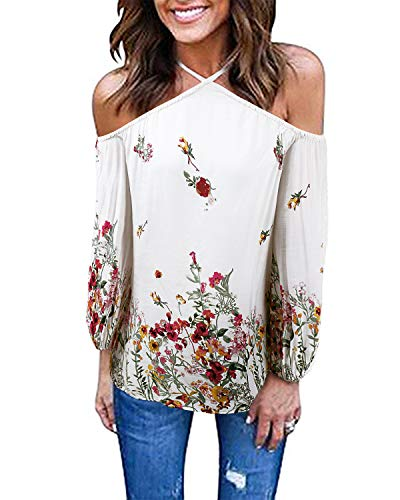 SHANUOINT Halter Blouse,Womens Elegant Cold Shoulder Floral Top Chic Long Sleeve Fitted Breathable Print Tees Juniors Casual Ruffles Party Evening Simple Strappy V Neck Boho Shirt White M
