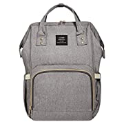 Land Diaper Bag Backpack for Baby Boys and Girls Travel Maternity Nappy Bag for Mom and Dad,Silver&Grey