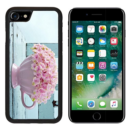 Liili iPhone 7 Case and iPhone 8 Case Silicone Bumper Shockproof Anti-Scratch Resistant Tempered Glass Hard Cover Cup full of pink hydrangea flowers on blue old vintage shabby chic chair Photo 199686