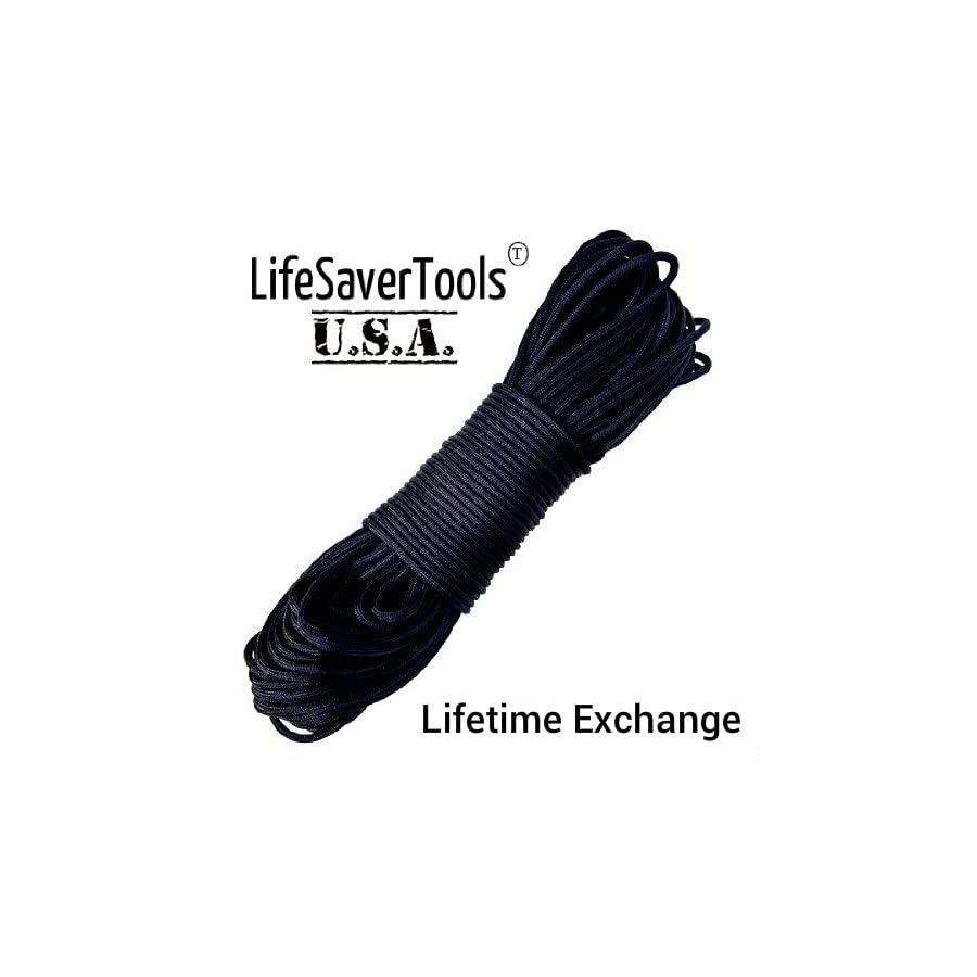 Lifetime Exchange... 850 Black Paracord 100 Feet. Test Strength @ 857.8 Stronger than 550 Paracord or 750 Paracord. Mold Mildew & UV Resistant Made in the USA By a Certified Military Contractor