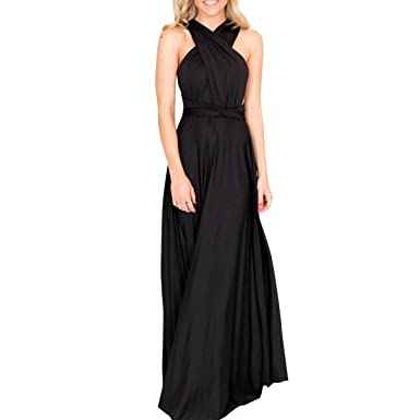 488a707dc88 Womens Sexy Convertible Multi Way Wrap Transformer Infinity Solid Cocktail  Off Shoulder Wedding Bridesmaid Evening Long Maxi Dress Floor Length  Bandage ...