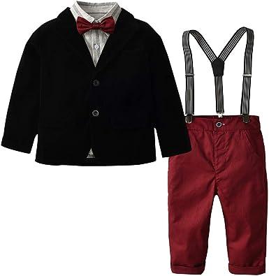 Kids Baby Boys Gentleman Formal Outfits Set Shirt Tops Coat Pants Wedding Party