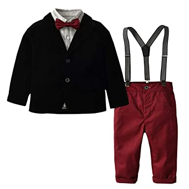 a204e9bbf1706 Baby Toddler Boys Formal Outfits Clothes Wedding Suit 1-7 Years Old Kids  Bowtie Gentleman