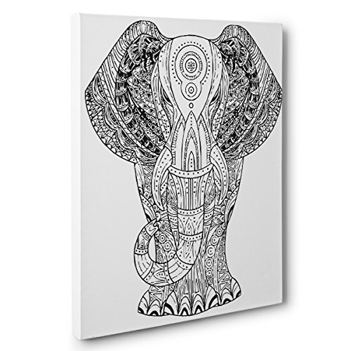 Elephant Art Therapy Coloring Canvas Home Decor
