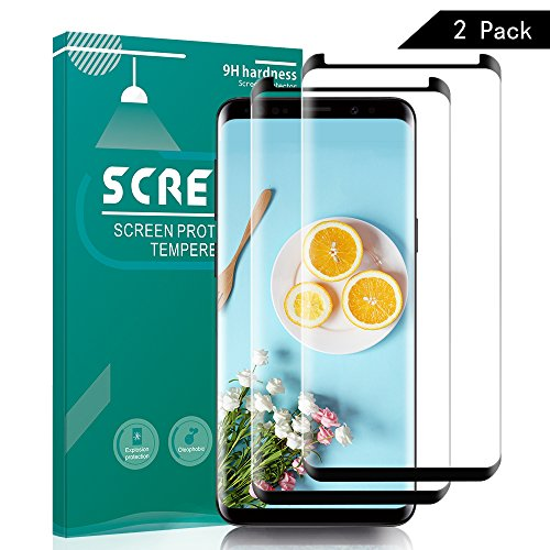 Samsung Galaxy S9 Plus Screen Protector, Full Coverage Screen Protector, Tempered Glass 3D Curved HD Clear Anti-Bubble Film for Samsung Galaxy S9 Plus-2 Pack
