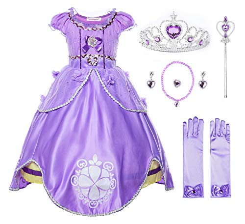 JerrisApparel Girls Princess Sofia Costume Floor Length Birthday Party Dress up (5, Purple with Accessories)
