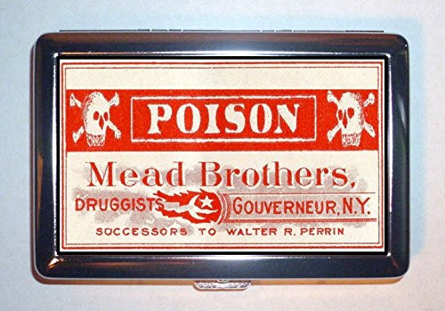 Poison Skull & Crossbones Pharmacy Old Label: Stainless Steel ID or Cigarettes Case (King Size or 100mm) Old Pharmacy